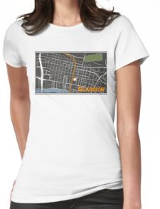 Glasgow Scotland City Center Cartography Map Illustration Womens Fitted T-Shirt