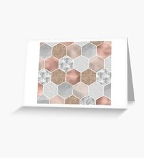 Gentle rose gold and marble hexagons Greeting Card