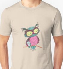 Cute colorful owl and little bird sitting on tree branch Unisex T-Shirt