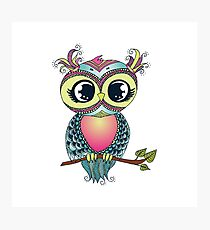 Cute colorful cartoon owl sitting on tree branch Photographic Print