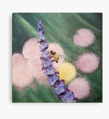 Bee gathering pollen on lavender Canvas Print