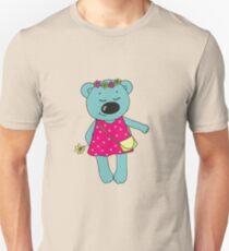 Cute bear with closed eyes in pink dress Unisex T-Shirt