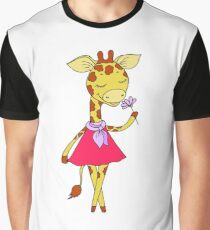 Cute giraffe with closed eyes in pink dress Graphic T-Shirt