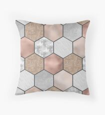 Marble hexagons and rose gold on black Throw Pillow