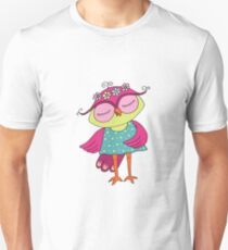Cute colorful cartoon owl in blue dress Unisex T-Shirt
