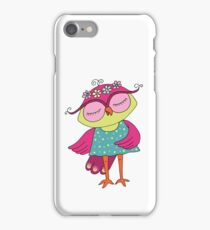 Cute colorful cartoon owl in blue dress iPhone Case/Skin