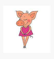 Cute colorful cartoon piglet in pink dress Photographic Print