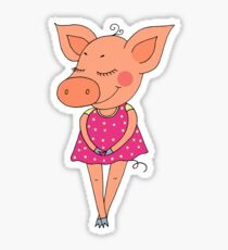 Cute colorful cartoon piglet in pink dress Sticker
