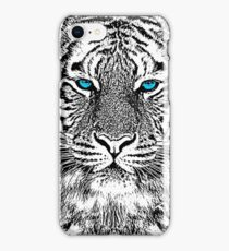 Tiger Portrait Black and White in Graphic Etching Style iPhone Case/Skin
