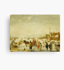 Barend Avercamp - Enjoying The Ice Canvas Print