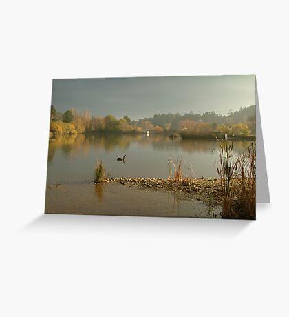 Autumn Fog, Lake Daylesford Greeting Card