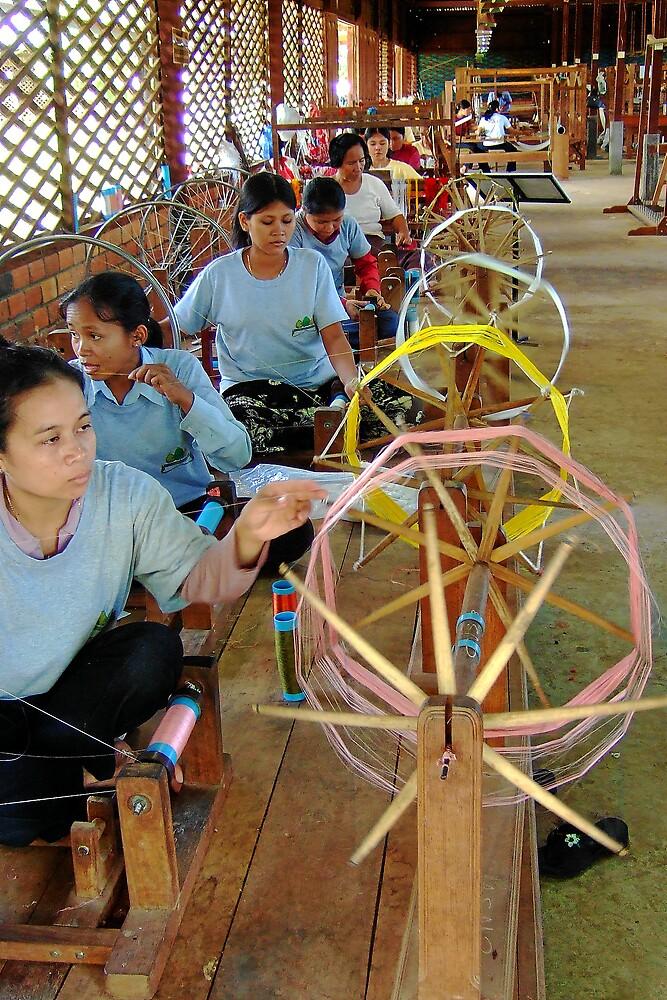 Weaving silk in Cambodia by AlexOZ