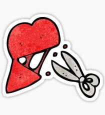 cartoon scissors cutting heart symbol Sticker