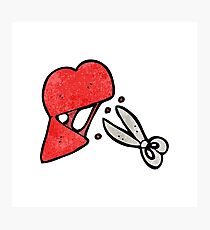 cartoon scissors cutting heart symbol Photographic Print