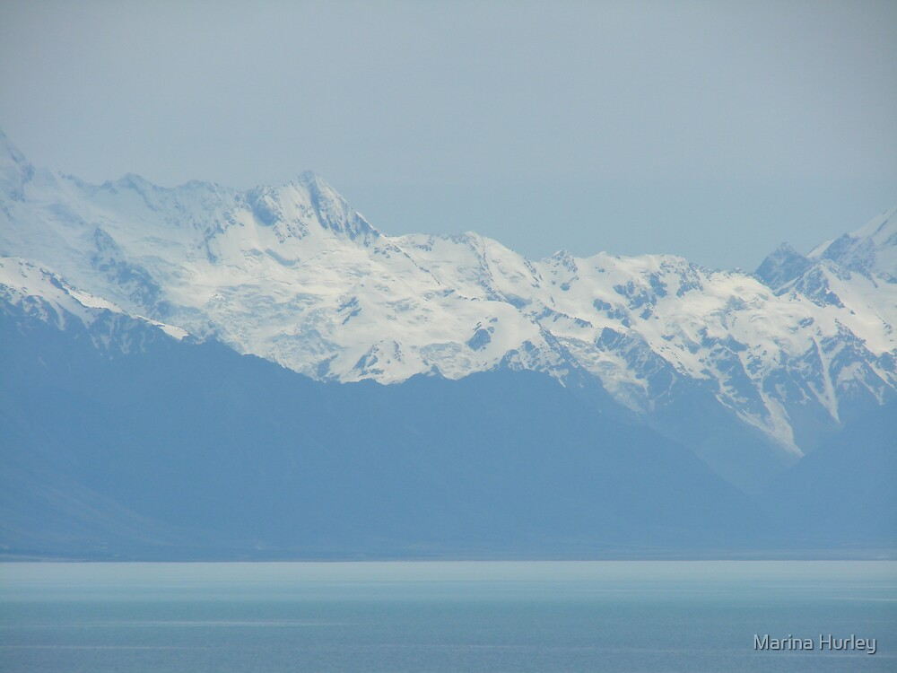 blue snow mountains by Marina Hurley