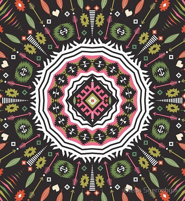 Ornamental round aztec geometric pattern by Olena Syerozhym