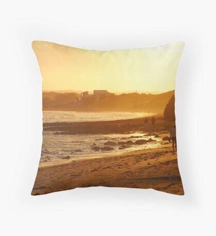 Strolling Torquay Surf Beach,Great Ocean Road Throw Pillow