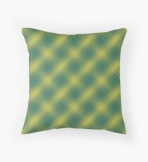 Green and Gold Plaid Throw Pillow