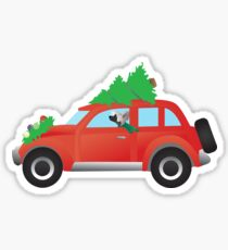 Chinese Crested Dog Driving Christmas Car with Tree on Top Sticker