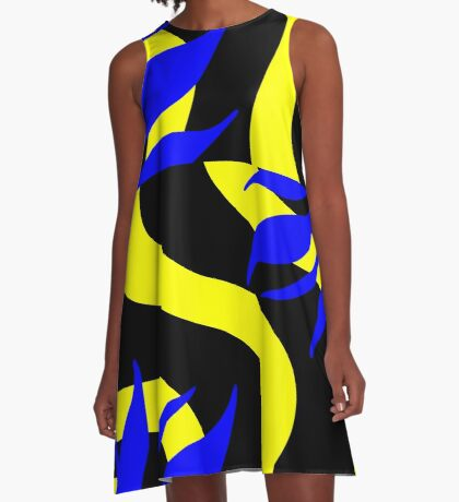 Royal Blue and Yellow by Julie Everhart A-Line Dress