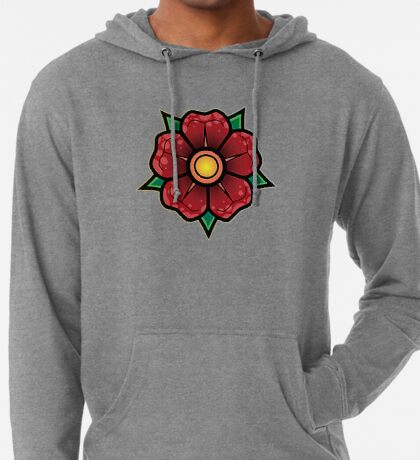 Red Traditional Flower Lightweight Hoodie