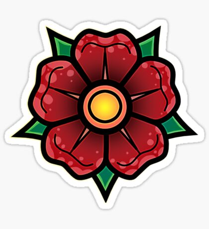 Red Traditional Flower Glossy Sticker