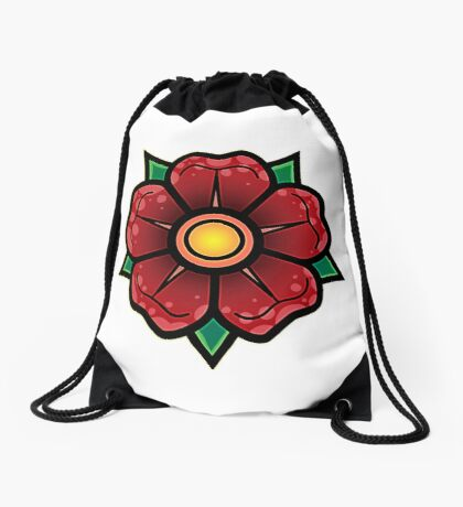 Red Traditional Flower Drawstring Bag