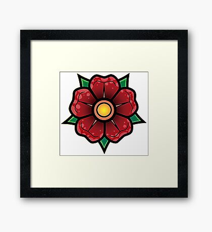 Red Traditional Flower Framed Print