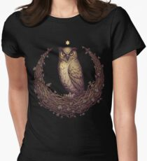 Owl Hedera Moon Women's Fitted T-Shirt