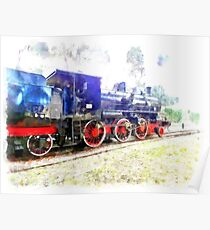 Steam locomotive in the Vatican station Poster