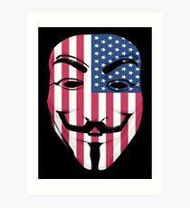 Guy Fawkes American Flag Art Print