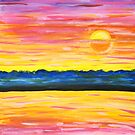 Watercolor Sunset In Pinks and Oranges by Express Yourself Artshop