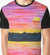 Watercolor Sunset In Reds and Violets Graphic T-Shirt