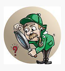 Funny cartoon detective Photographic Print