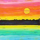 Neon Rainbow Watercolor Sunset by Express Yourself Artshop