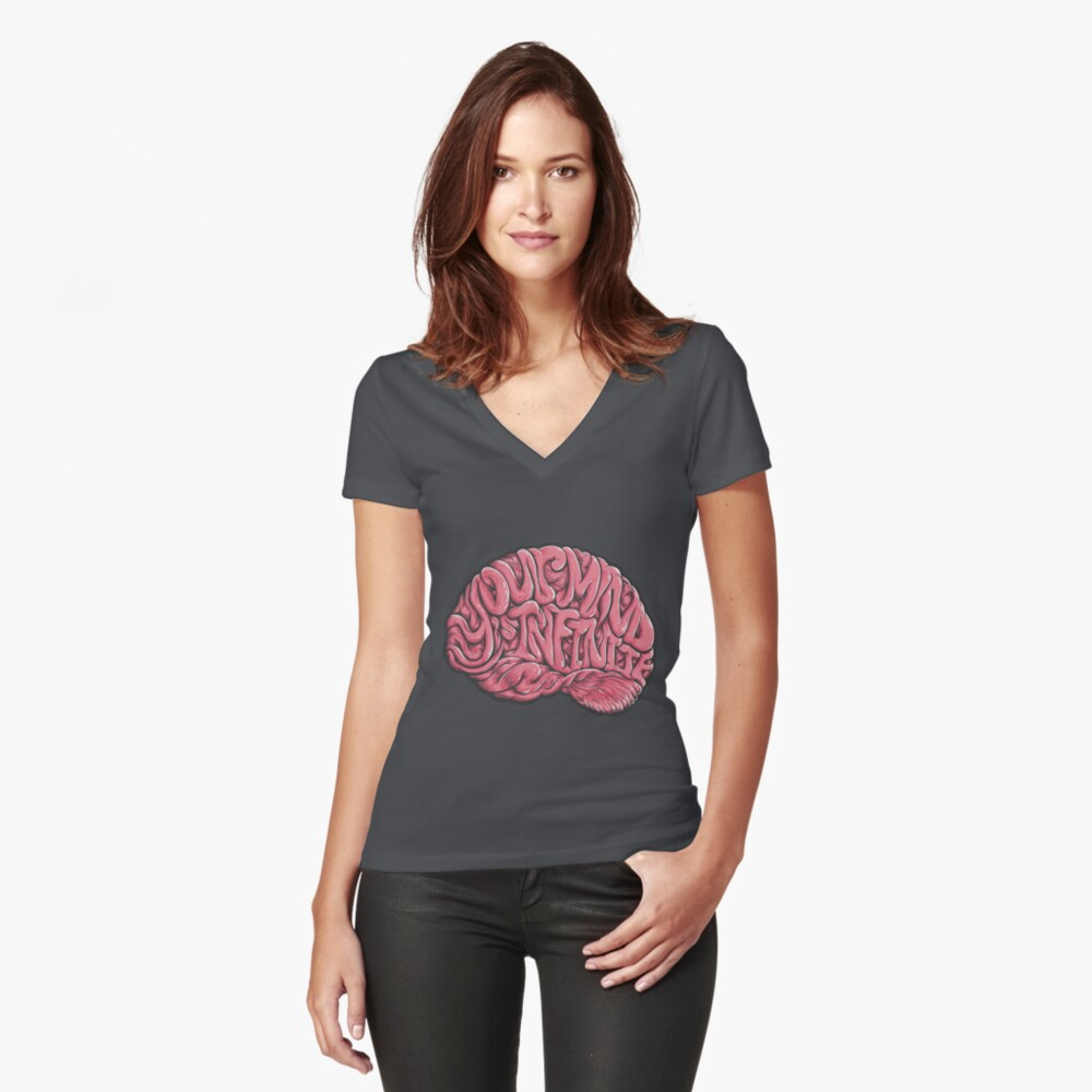 Your Mind is Infinite Women's Fitted V-Neck T-Shirt Front