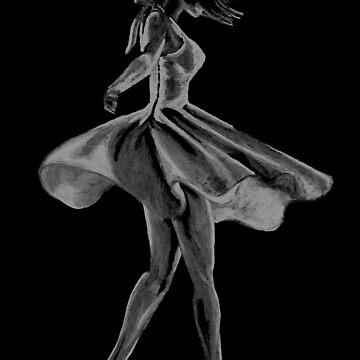Twirling dancer with a swishy dress by KateMarieLewis