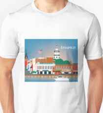 Annapolis, Maryland - Skyline Illustration by Loose Petals Unisex T-Shirt