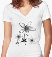 Flowers Designs  Women's Fitted V-Neck T-Shirt