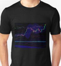 Stock market trading SPX500 charts concept art print Unisex T-Shirt