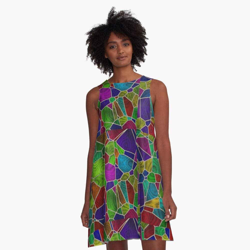 Stained Glass Design by Julie Everhart A-Line Dress