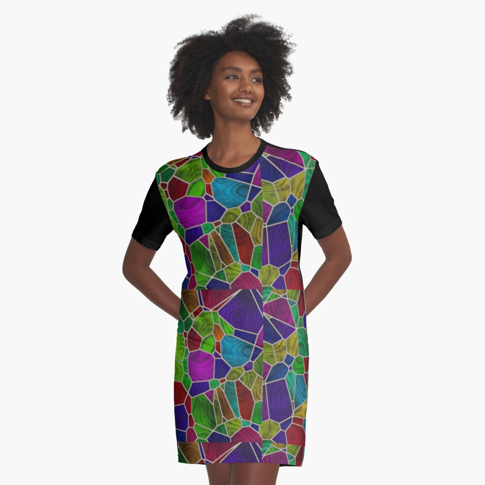 Stained Glass Design by Julie Everhart Graphic T-Shirt Dress