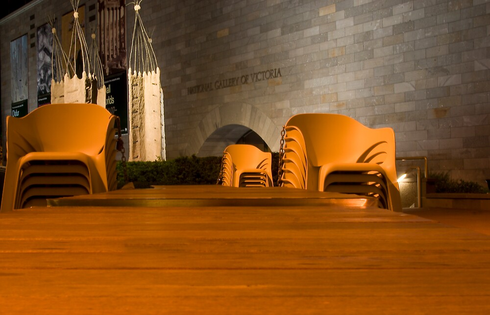 National Gallery with chairs at night by rick strodder