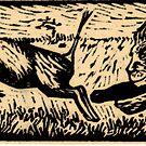 Hunting warthog by Jean  Burke
