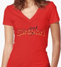 Super(tired)Mom Women's Fitted V-Neck T-Shirt