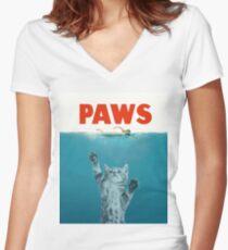 Paws - Cat Kitten Meow Parody T Shirt Women's Fitted V-Neck T-Shirt