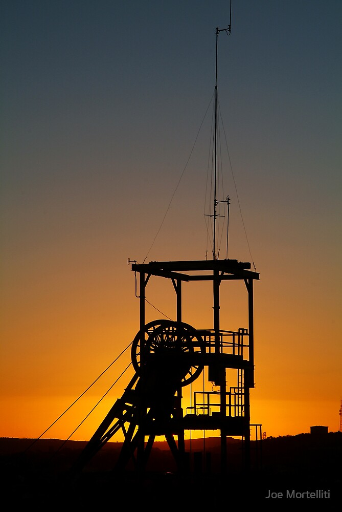Poppet Head Sunset Broken Hill by Joe Mortelliti