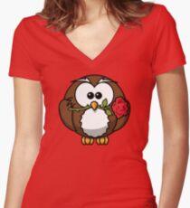 Cute valentine penguin Women's Fitted V-Neck T-Shirt