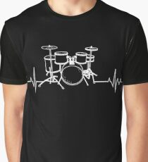 Drums Heartbeat - Funny drummer Graphic T-Shirt