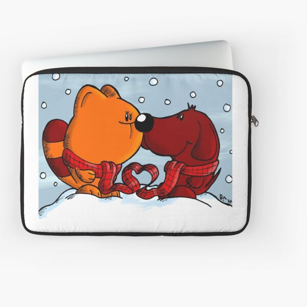 Cat and dog in love in winter Laptoptasche